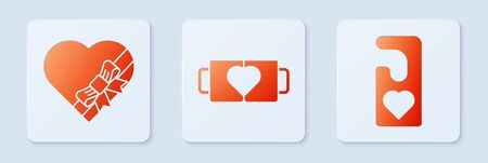 Set Two coffee cup and heart, Candy in heart shaped box and bow and Please do not disturb with heart. White square button. Vector