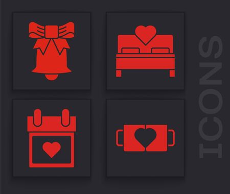Set Two coffee cup and heart, Ringing bell, Bedroom and Calendar with heart icon. Vector