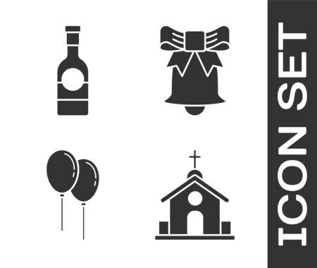 Set Church building, Champagne bottle, Balloons with ribbon and Ringing bell icon. Vector Stock Illustratie