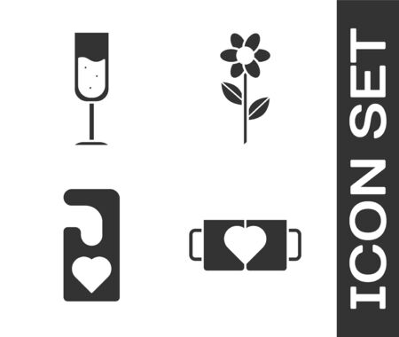 Set Two coffee cup and heart, Glass of champagne, Please do not disturb with heart and Flower icon. Vector Ilustrace