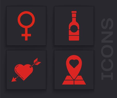 Set Map pointer with heart, Female gender symbol, Champagne bottle and Amour symbol with heart and arrow icon. Vector