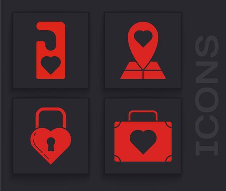 Set Suitcase for travel with heart, Please do not disturb with heart, Map pointer with heart and Castle in the shape of a heart icon. Vector Ilustrace