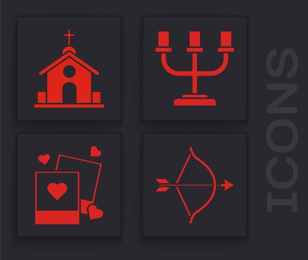 Set Bow and arrow, Church building, Candlestick and Two blanks photo frames and hearts icon. Vector Zdjęcie Seryjne - 138000559