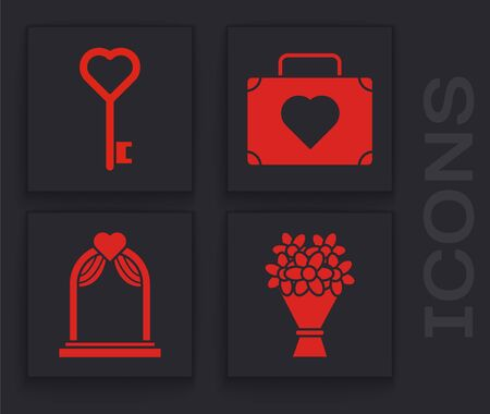 Set Bouquet of flowers, Key in heart shape, Suitcase for travel with heart and Wedding arch icon. Vector