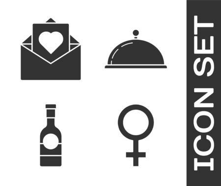 Set Female gender symbol, Envelope with Valentine heart, Champagne bottle and Covered with a tray of food icon. Vector Stock Illustratie