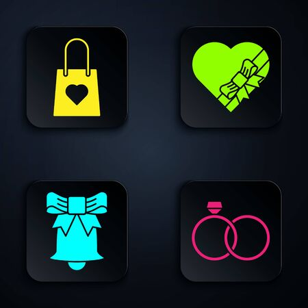 Set Wedding rings, Shopping bag with heart, Ringing bell and Candy in heart shaped box and bow. Black square button. Vector  イラスト・ベクター素材