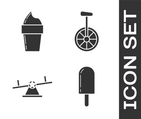 Set Ice cream, Ice cream in waffle cone, Seesaw and Unicycle or one wheel bicycle icon. Vector
