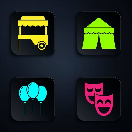 Set Comedy theatrical masks, Fast street food cart with awning, Balloons with ribbon and Circus tent. Black square button. Vector