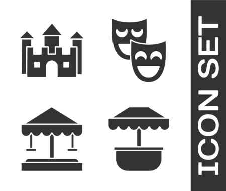 Set Attraction carousel, Castle, Attraction carousel and Comedy theatrical masks icon. Vector