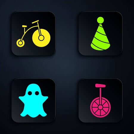 Set Unicycle or one wheel bicycle, Vintage bicycle with one big wheel and one small, Ghost and Party hat. Black square button. Vector Фото со стока - 138000181