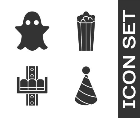 Set Party hat, Ghost, Attraction carousel and Popcorn in cardboard box icon. Vector Illustration