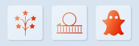 Set Roller coaster, Fireworks and Ghost. White square button. Vector