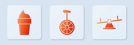 Set Unicycle or one wheel bicycle, Ice cream in waffle cone and Seesaw. White square button. Vector Ilustração