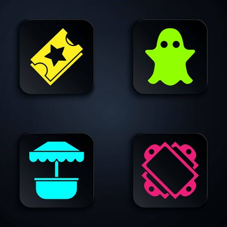 Set Ticket, Ticket, Attraction carousel and Ghost. Black square button. Vector Illustration