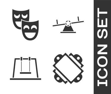 Set Ticket, Comedy theatrical masks, Swing and Seesaw icon. Vector