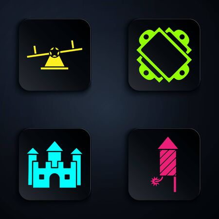 Set Firework rocket, Seesaw, Castle and Ticket. Black square button. Vector