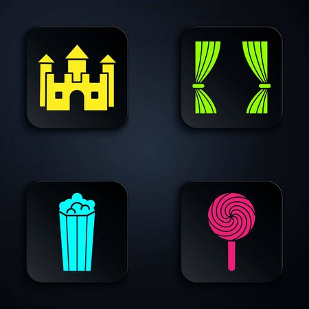 Set Lollipop, Castle, Popcorn in cardboard box and Curtain. Black square button. Vector