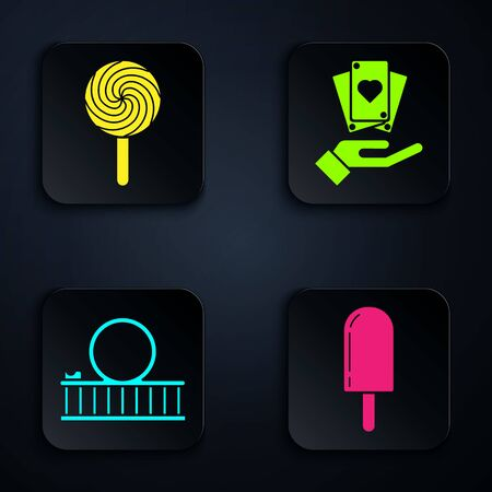 Set Ice cream, Lollipop, Roller coaster and Hand holding playing cards. Black square button. Vector