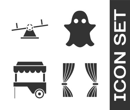 Set Curtain, Seesaw, Fast street food cart with awning and Ghost icon. Vector Illustration