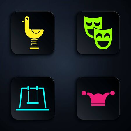 Set Jester hat with bells, Riding kid duck, Swing and Comedy theatrical masks. Black square button. Vector