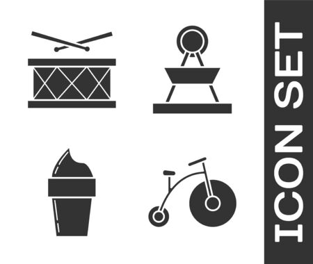 Set Vintage bicycle with one big wheel and one small, Drum with drum sticks, Ice cream in waffle cone and Attraction carousel icon. Vector