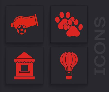 Set Hot air balloon, Cannon, Paw print and Ticket box office icon. Vector