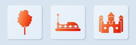 Set Bumper car, Cotton candy and Castle. White square button. Vector