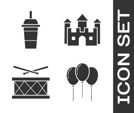 Set Balloons with ribbon, Paper glass with drinking straw and water, Drum with drum sticks and Castle icon. Vector