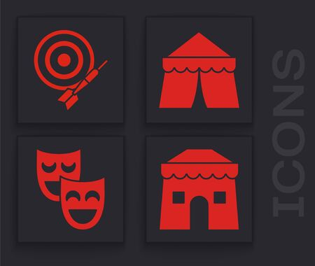 Set Circus tent, Classic dart board and arrow, Circus tent and Comedy theatrical masks icon. Vector
