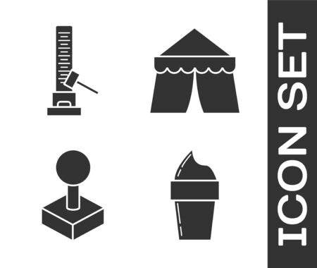 Set Ice cream in waffle cone, High striker attraction with big hammer, Joystick for arcade machine and Circus tent icon. Vector