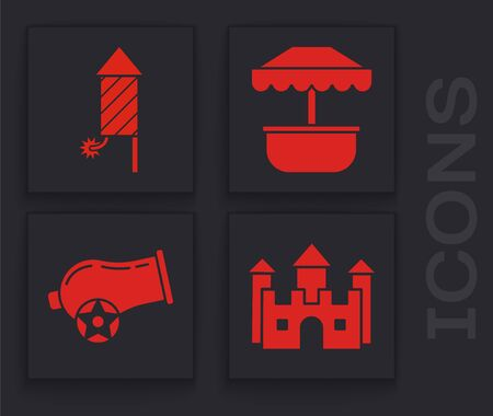 Set Castle, Firework rocket, Attraction carousel and Cannon icon. Vector