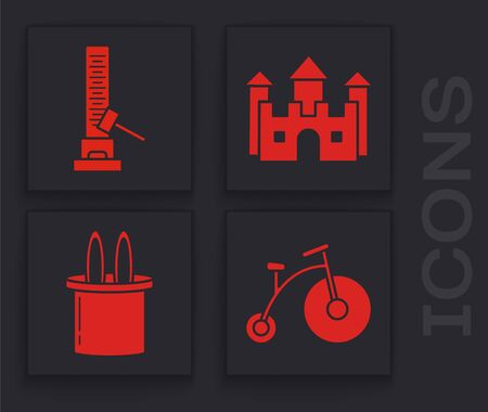 Set Vintage bicycle with one big wheel and one small, High striker attraction with big hammer, Castle and Magician hat and rabbit ears icon. Vector