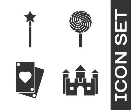Set Castle, Magic wand, Playing card and Lollipop icon. Vector 向量圖像