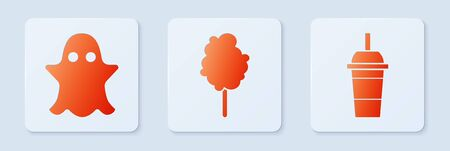 Set Cotton candy, Ghost and Paper glass with drinking straw and water. White square button. Vector
