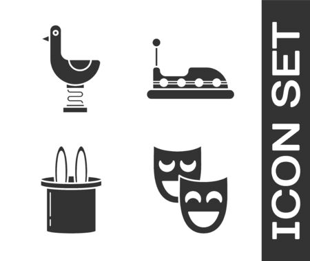 Set Comedy theatrical masks, Riding kid duck, Magician hat and rabbit ears and Bumper car icon. Vector