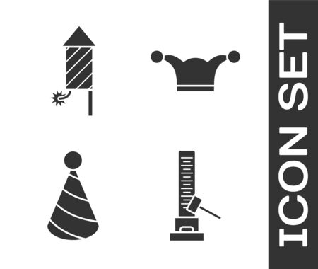 Set High striker attraction with big hammer, Firework rocket, Party hat and Jester hat with bells icon. Vector Ilustrace