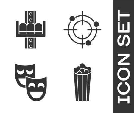 Set Popcorn in cardboard box, Attraction carousel, Comedy theatrical masks and Target sport for shooting competition icon. Vector 일러스트