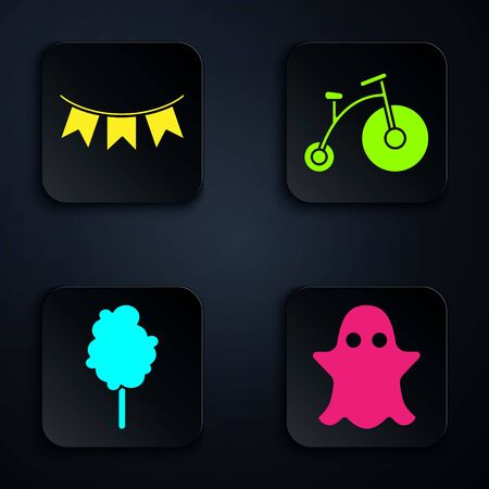 Set Ghost, Carnival garland with flags, Cotton candy and Vintage bicycle with one big wheel and one small. Black square button. Vector