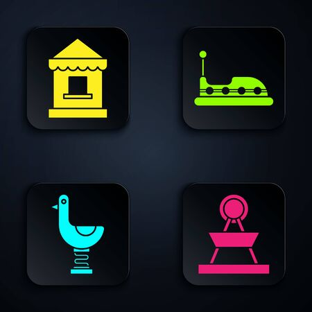 Set Attraction carousel, Ticket box office, Riding kid duck and Bumper car. Black square button. Vector