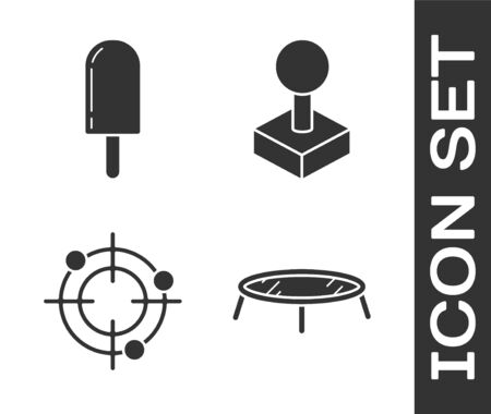 Set Jumping trampoline, Ice cream, Target sport for shooting competition and Joystick for arcade machine icon. Vector Ilustrace