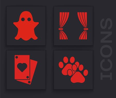 Set Paw print, Ghost, Curtain and Playing card icon. Vector Illustration