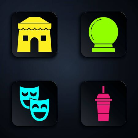 Set Paper glass with drinking straw and water, Circus tent, Comedy theatrical masks and Magic ball. Black square button. Vector