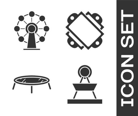 Set Attraction carousel, Ferris wheel, Jumping trampoline and Ticket icon. Vector