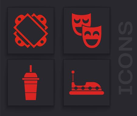 Set Bumper car, Ticket, Comedy theatrical masks and Paper glass with drinking straw and water icon. Vector