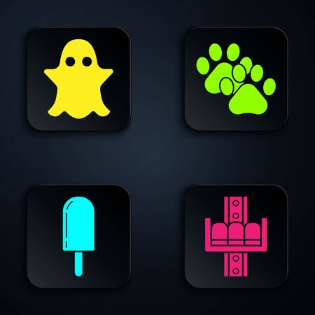 Set Attraction carousel, Ghost, Ice cream and Paw print. Black square button. Vector