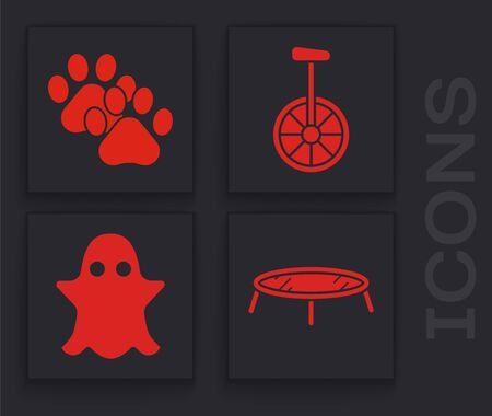 Set Jumping trampoline, Paw print, Unicycle or one wheel bicycle and Ghost icon. Vector Фото со стока - 138001152