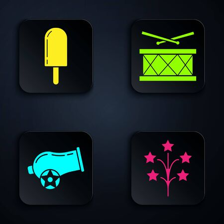 Set Fireworks, Ice cream, Cannon and Drum with drum sticks. Black square button. Vector