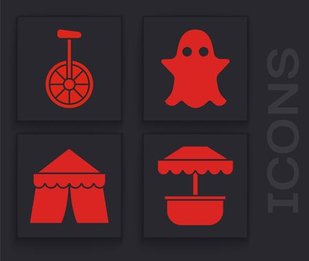 Set Attraction carousel, Unicycle or one wheel bicycle, Ghost and Circus tent icon. Vector Фото со стока - 138001208