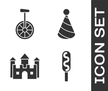 Set Corn dog, Unicycle or one wheel bicycle, Castle and Party hat icon. Vector