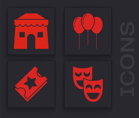 Set Comedy theatrical masks, Circus tent, Balloons with ribbon and Ticket icon. Vector 일러스트